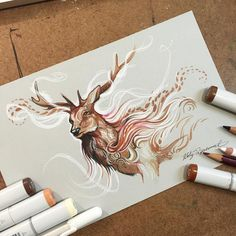 Dreamy, Life-Like Drawings Of Wild Animals Made With Colored Pencils, Markers - DesignTAXI.com