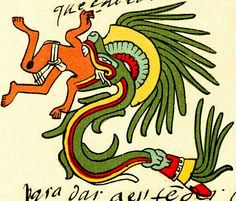 """The serpent god Quetzalcoatl was worshipped by the Aztecs; he lived with the Indians 52 years and was their teacher, according to the book of legends """"Codex Chimalpopoca""""."""