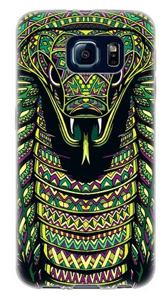Amazon.com: {Aztec Animal Face Cobra} Soft and Smooth Silicone Cute 3D Fitted Bumper Back Cover Gel Case for Samsung Galaxy S6 {Color is Green, Yellow and Purple}: Cell Phones & Accessories