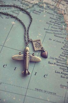 Fernweh, wanderlust airplane and passport necklace