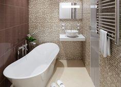 Apartament de 60 mp cu 2 camere în nuanțe de bej-maro - Edifica Design Case, Bathtub, House Design, Bathroom, Modern, Design Interior, Home, Neutral, Standing Bath
