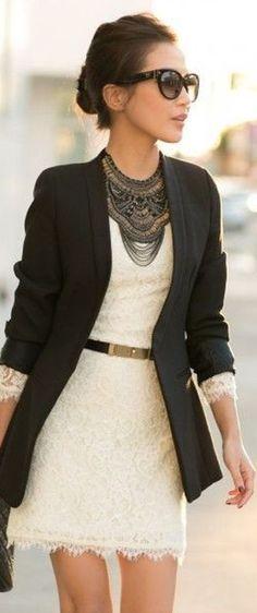Classic Street Chic - Black Blazer, Ivory lace dress.