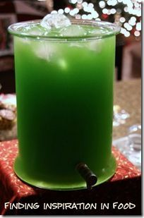 Green Punch   (Adapted from Trisha Yearwood)  2 packets lemon lime kool aid  2 cups sugar   1 46-ounce can pineapple juice   12 ounces frozen lemonade concentrate, thawed   32 ounces (1 quart) ginger ale  Make kool aid, add pineapple juice and lemonade concentrate. Add ginger ale right before serving