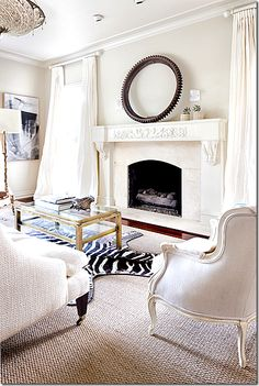 chair, interior, castl, live space, white living, fireplace mantles, zebra rug, hous, live roomoffic