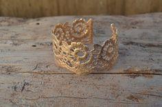 pink gold bracelet  rose gold bracelet  lace bracelet  by MyElesi, $70.00