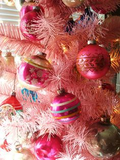 Shine Brute vintage Christmas tree ornaments....Love these...especially on the pink tree!!! Bebe'!!!