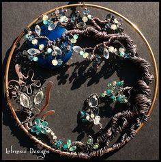 Wire Wrapped Seaside Blues Gemstone and Swarovski Crystal Garden Suncatcher in Copper and Bronze  by CathyHeery
