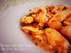 A Cozinha da Ovelha Negra: Frango com alho francês em leite de côco