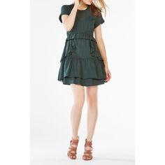BCBGMAXAZRIA Inez Ruffled Chiffon Dress ($159) ❤ liked on Polyvore featuring dresses, green, tiered ruffle dress, green short sleeve dress, ruffled dresses, striped dresses and short sleeve dress