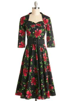 Roses at Your Feet Dress - Cotton, Woven, Long, Black, Red, Green, Floral, Belted, Party, A-line, 3/4 Sleeve, Better, Vintage Inspired, 40s,...