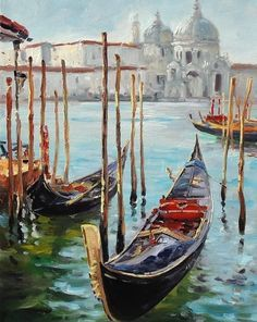 Venice Gondola Cityscape Textured Oil Painting on by AnastassiaArt Venice Painting, Boat Painting, Painting & Drawing, Art Abstrait, Italy Travel, Oeuvre D'art, Landscape Paintings, Watercolor Paintings, Cool Art