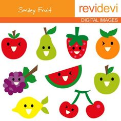 Digital clipart.. Smiley Fruit Clipart 07127.. commercial use