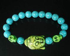 Tibet Buddhism Turquoise Light Green Buddha Skulls Round Baby Blue Beads Prayer Mala Stretchy Bracelet ZZ2244 by AnneJewelryAcc, $3.68
