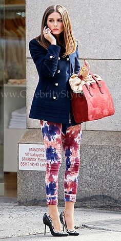 Olivia Palermo was spotted out and about in New York City wearing the vibrant tie-dye Paige Denim Verdugo Jeggings March 12 2012