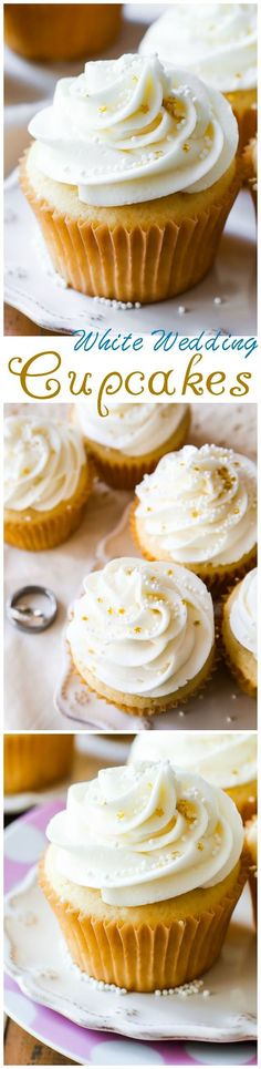 White Wedding Cupcakes - White chocolate, vanilla, and almond flavors come together in these truly elegant homemade wedding treats.: