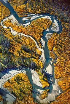 River channels (aerial), Wrangell St. Elias National Park, Alaska