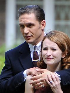 Tom Hardy and Emily Browning on the set of Legend - July 15th 2014