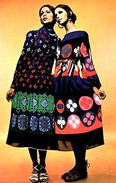 1970's fashion -  printed dresses