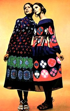 "1970's fashion -  printed dresses. I wouldn't necessarily call it a kaftan but I would call the one on the right ""amazing""."