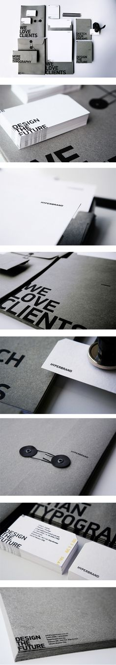 Nice use of colour combo (gray, white, and black). Love the solid gray background with black UV spot varnish (- may be expensive for general stationary).