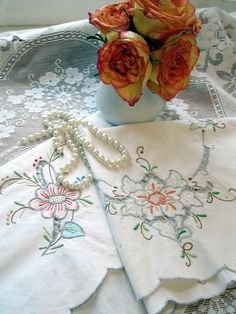 Vintage Runner and Centerpiece Two Embroidered Pieces