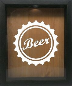 "Wooden Shadow Box Wine Cork/Bottle Cap Holder 9""x11"" - Beer Cap (Ebony w/White)"