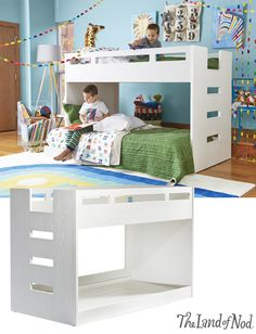 We've created a kids bunk bed with more space saving capabilities than ever! With a smaller profile and incorporated ladder, our Abridged Bunk Bed is actually a loft bed and a rolling twin bed combo.
