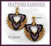 Beading tutorial  Feathers earring  peyote stitch