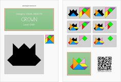 Tangram worksheet 259 : Crown - This worksheet is available for free download at http://www.tangram-channel.com