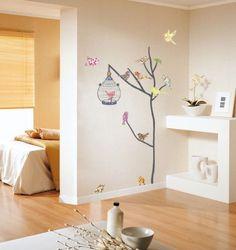 Decowall DW-1202, 14 aves y jaulas de pared pegatinas | pegatinas | pegatinas | tatuaje de la pared | Imagen de pared | Vinilos decorativos:...
