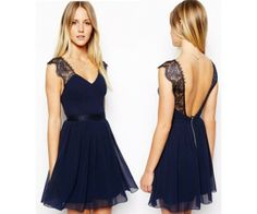 Cheap Sexy Navy Blue Lace Backless Chiffon Dress For Big Sale!Sexy Navy Blue Lace Backless Chiffon Dress is a nice party dress. Casual Summer Dresses, Sexy Dresses, Cute Dresses, Evening Dresses, Fashion Dresses, Mini Dresses, Chiffon Dresses, Cheap Dresses, Sleeveless Dresses