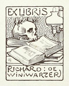 EX LIBRIS: Antique Book Plates : Skull and Book. Ex Libris for Richard de Winiwarzer at Davidson Galleries
