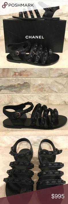e612d69e4355 Chanel 17C Brown Beige Chain CC Gladiator Strap Chanel 17C Brown Beige Chain  CC Gladiator Strap Mule Slide Flat Sandal 37.5          …