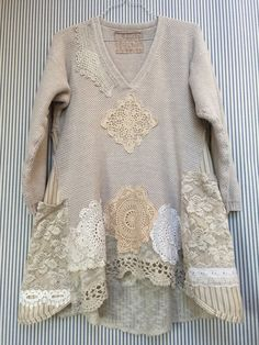 Upcycled Clothing Shabby Chic Thick Cotton V-Neck Pullover Sweater Tunic with Vintage Lace Doilies and lacey side pockets - 2019 Sewing Clothes Women, Diy Clothes, Clothes For Women, Altered Couture, Moda Vintage, Vintage Lace, Ropa Shabby Chic, Refashioning, Altering Clothes