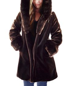 Loving this Brown Faux Fur Coat on #zulily! #zulilyfinds