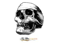 Black and white Skull tattoo design example.  Do you want completely unique and personalized tattoo? Send us your idea and we'll help you design a custom tattoo.