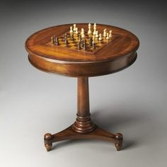 Round Pedestal Chess Table
