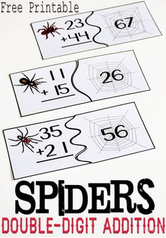 Free spider themed puzzles for double-digit addition a fun activity for your second graders this fall.