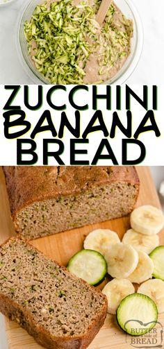 Zucchini Banana Bread is a perfect combination of zucchini bread and banana bread all in one delicious quick bread recipe! Zucchini Muffins, Zucchini Banana Bread, Zucchini Bread Recipes, Healthy Banana Bread, Quick Bread Recipes, Banana Bread Recipes, Veggie Recipes, Healthy Recipes, Healthy Zucchini
