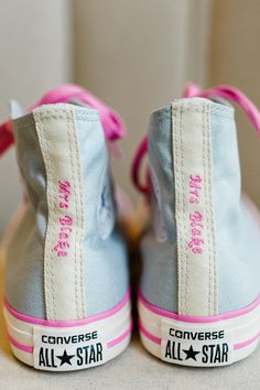 Custom Made Converse For A Wedding Pink Ideas Brides Shoes