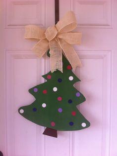 Wood door hanger Christmas tree Burlap bow
