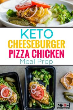 Cheeseburger Pizza Chicken Meal Prep - Cheeseburger pizza gone KETO! This recipe is a crossover between two favorite meals cheeseburgers and pizza. Sans the carbs. - Meal Prep recipes via Meal Prep on Fleek Keto Recipes: Lunch Recipes, Gourmet Recipes, Low Carb Recipes, Breakfast Recipes, Dinner Recipes, Healthy Recipes, Paleo Breakfast, Breakfast Ideas, Healthy Foods