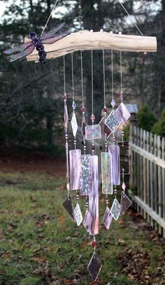 Stained Glass Dragonfly  Wind Chime Amethyst Purple Indoor Outdoor Decor Garden. $49.00, via Etsy.