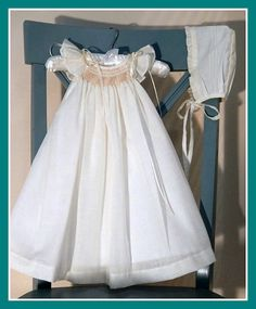 This Ivory Cotton Christening dress is made with cotton fabric is hand Smocked, buttons in the back for an easy on and off. This gown also comes with the bonnet Our Gowns are hand smocked by skilled a