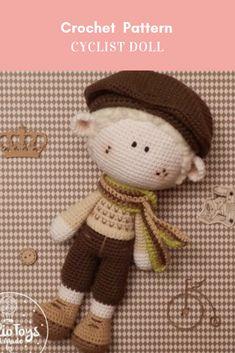 Cyclist Doll Crochet Pattern #crochetpattern #crochetcyclistdollpattern #crochetcyclist #cyclistcrochetpattern #dollcrochetpattern Affiliate Link Crochet Patterns Amigurumi, Crochet Dolls, Yarns, Charity, Free Pattern, Teddy Bear, Nursery, Knitting, Toys