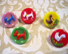 Vintage Glass Shank Button Lot w Enamel Dog and Duck