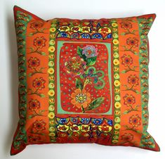 Bohemian Scatter Cushion Cover with a Pom Pom Edging Original Design by Dorothy du Plessis Digitally Printed on Cotton Twill 45 cm x 45 cm Colour and Size Variations on request Blue Throw Pillows, Scatter Cushions, Mexican Flowers, Blues, Ice Cream, Bohemian, Textiles, Colour, The Originals