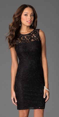 Sleeveless Laced Bateau Short Black Cocktail Dress