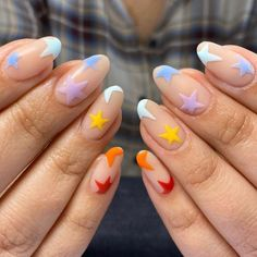 nail designs for summer nail designs for short nails 2019 nail art stickers online nail art stickers how to apply full nail stickers Summer Acrylic Nails, Best Acrylic Nails, Acrylic Nail Designs, Summer Nails, Winter Nails, Easy Nail Art Designs, Easy Diy Nail Art, Summer Nail Designs, Star Nail Designs