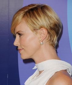 Charlize Theron pixie style side view
